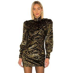 GRLFRND Janice Mini Dress Black/Gold size M